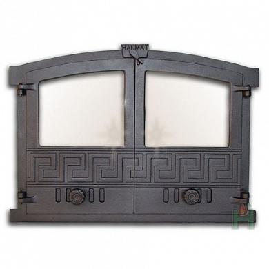 Чугунные дверцы для камина с огнеупорным стеклом
